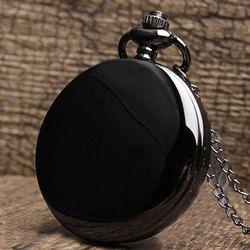 Hitam Unik Halus Steampunk Saku Pria dengan Fob Nacklace Rantai Kuarsa Jam Tangan Pria Wanita Hadiah Reloj De Saku
