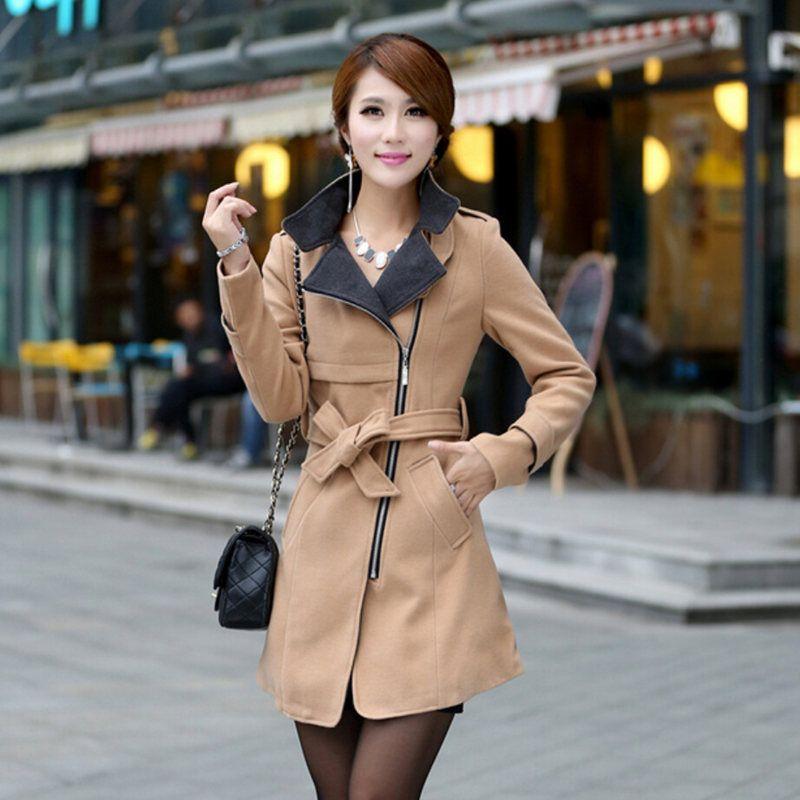 Для женщин Тренч осень 2017 г. корейских Тонкая талия пальто Для женщин зиму Элегантная модная верхняя одежда ветровка шерстяное пальто