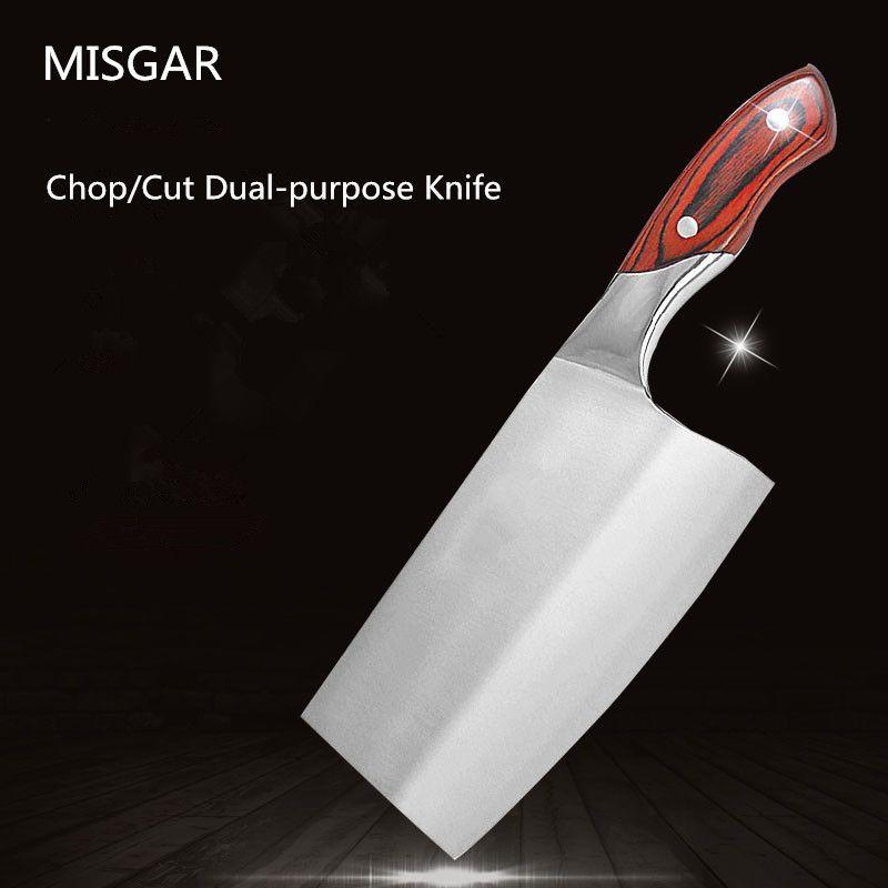 Livraison gratuite MISGAR 4Cr13 couteau en acier inoxydable hacher os coupe viande légume double usage couteau de cuisine couperet couteau à trancher