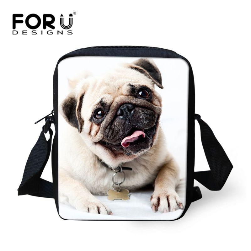 FORUDESIGNS femmes Messenger sacs filles Mini sacs 3D Animal carlin chien imprimer enfants sac à bandoulière dames bandoulière espagne sac petit