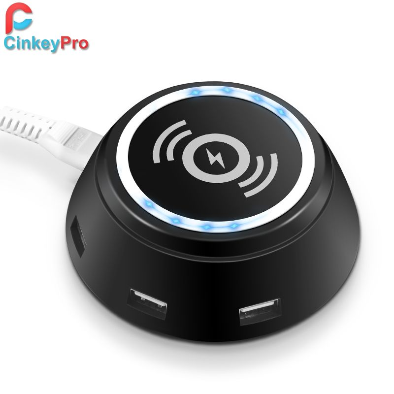 CinkeyPro 6-Port USB QI Wireless Charger for iPhone 8 10 X Samsung  Galaxy S6 S7 S8 Plus LED Light 5V/3.1A Fast Charging Pad