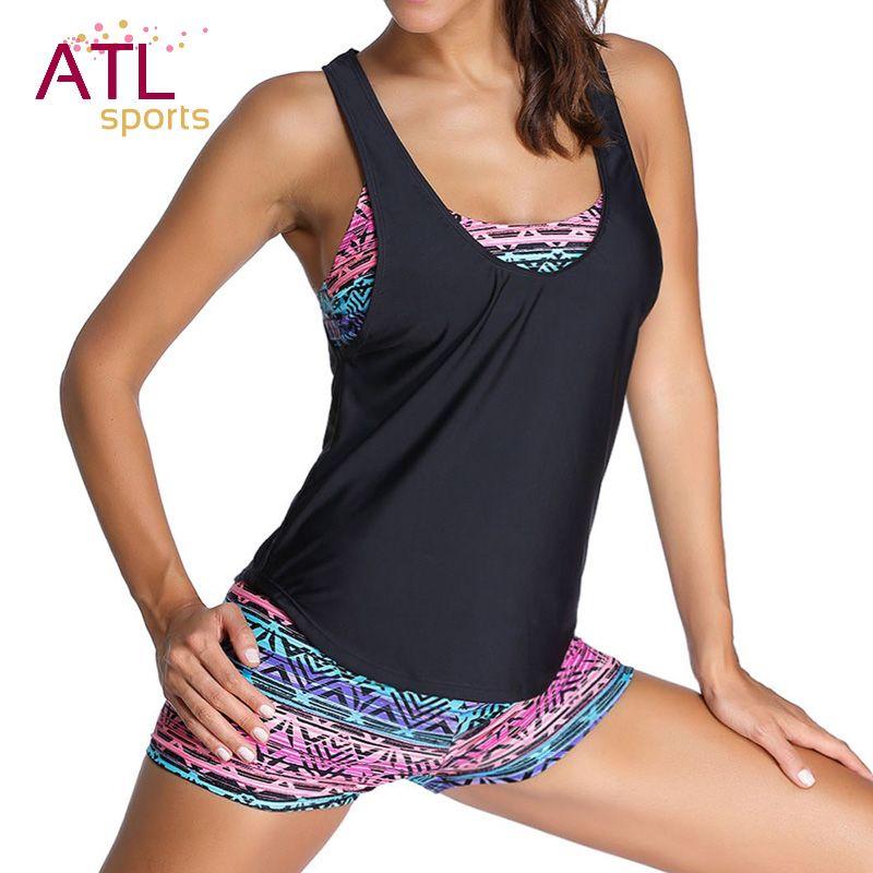 Bathers Bikini Womens 2018 Swimsuit Large Size Black <font><b>Retro</b></font> Shorts Tankini Set Push Up Bathing Suit maio Beach Swimwear Female