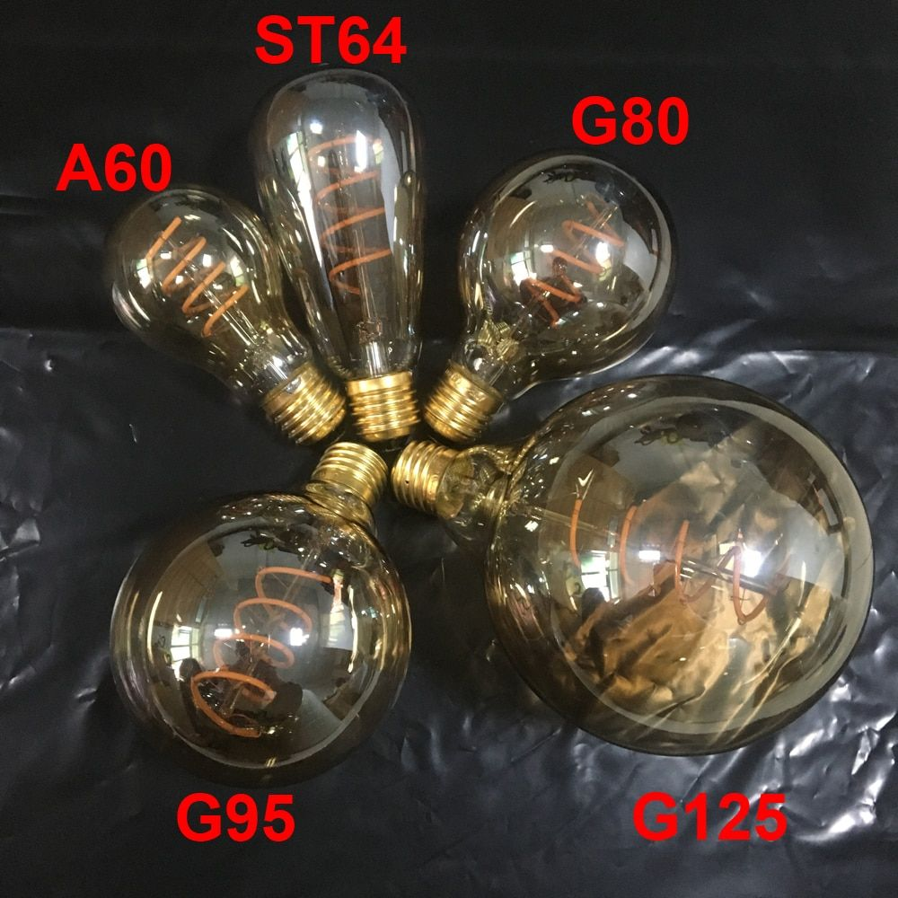 New Unique Retro Spiral Filament LED Bulb 220V AC A60/ST64/G80/G95/G125 Edison Globe Lamp 2200K Warm Yellow For Home Bar Shop