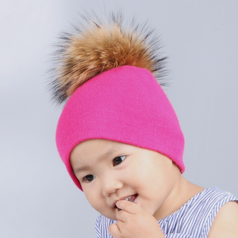 0 to 3 year old baby knitted winter hat cap girl boy kids cotton fuchsia mink fur pompom children crown beanies casual skullies