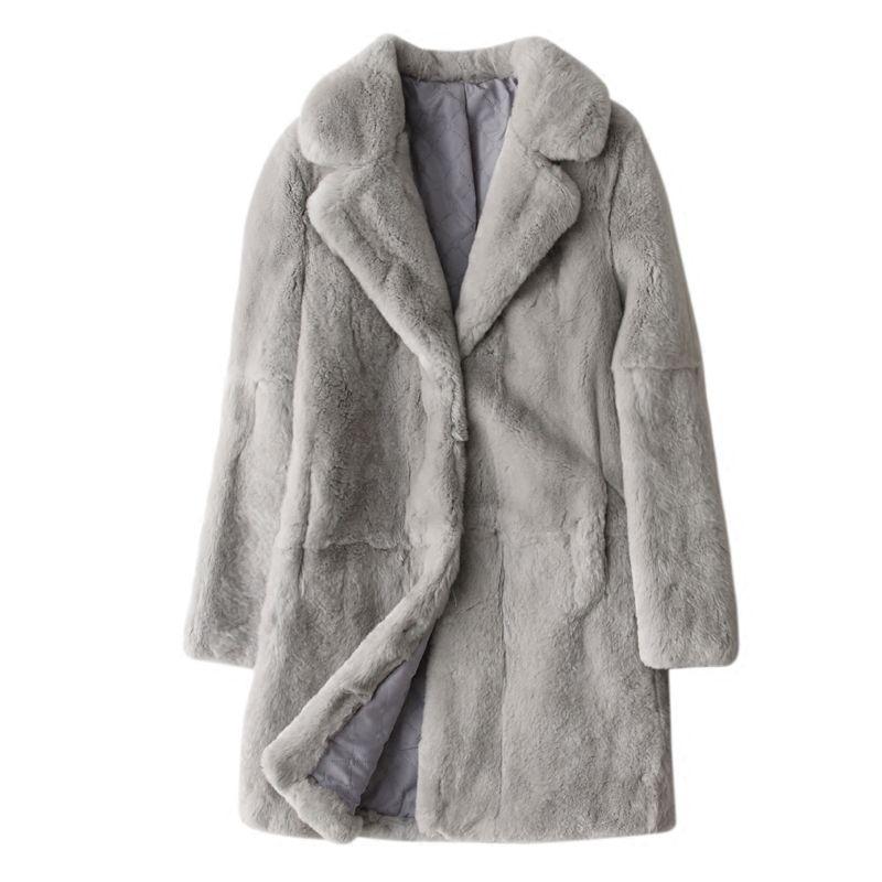Drehen Unten Kragen Natürliche Rex Kaninchen Pelz Mäntel Oberbekleidung Frauen Volle Hülse Ganze Haut Echt Leder Pelz Jacken 2019 Herbst winter