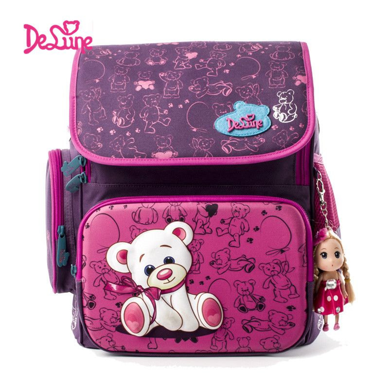 Delune милые школьные сумки ортопедический рюкзак Детская школьная прочный Рюкзаки медведь молния рюкзак для детей Обувь для девочек Обувь дл...