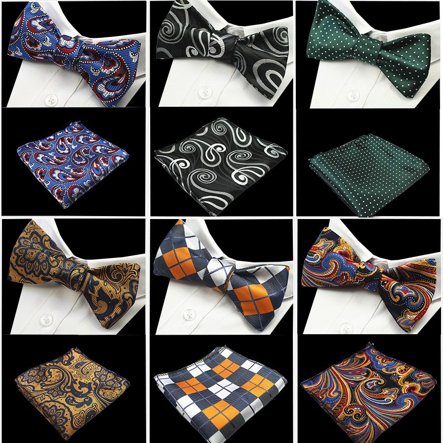 GUSLESON New Design Self Bow Tie And Hanky Set Silk Jacquard Woven Men BowTie Pocket Square Handkerchief Suit Wedding Party