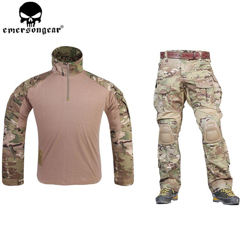 EMERSONGEAR G3 Kampf Uniform Airsoft Hemd Hosen mit Knie Pads Militärische Taktische Multicam Jagd Camo Kleidung EM9351