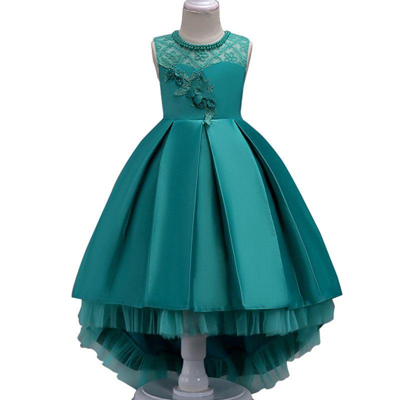 Verano flor Encaje Niñas boda del desfile Vestidos princesa formal vestidos de baile tamaño 3-14 años 2018 New Kid ropa de la muchacha