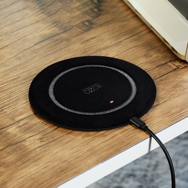 IIOZO Wireless Charger for iPhone X 8 8 Plus 5MM Ultra Thin Leather Fast QI Wireless Charger Pad for Samsung Note8 S8 S7 S6 Edge