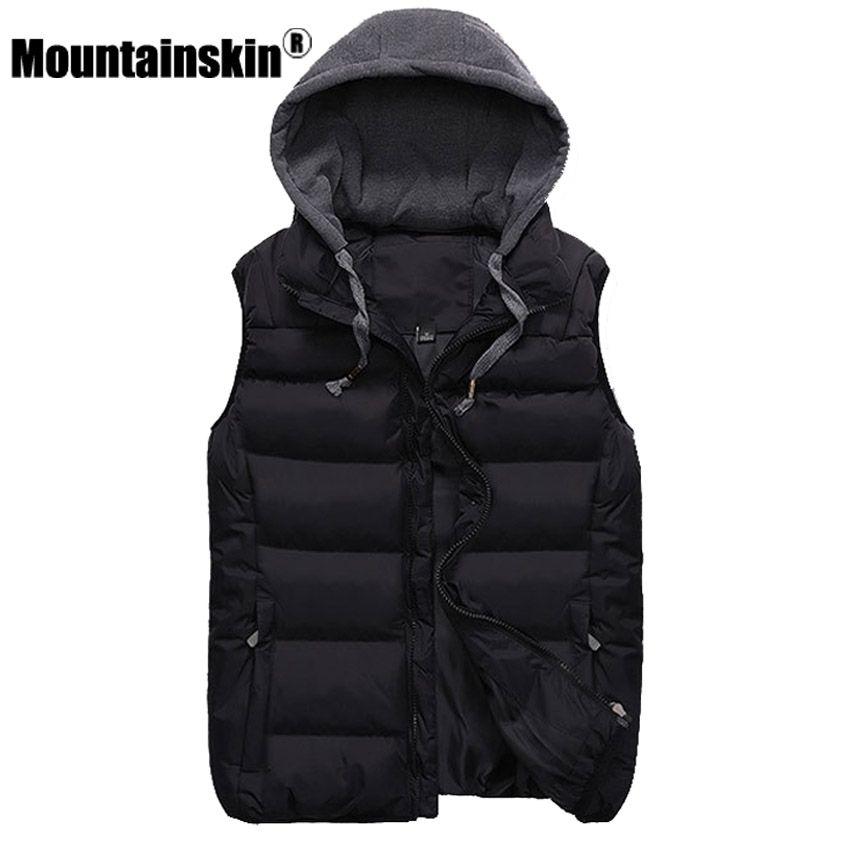 Mountainskin Fashion Couple Vest Men's Jacket Sleeveless Winter Waistcoat Men's Coat 4XL Slim Fit Hooded Vest Women Jacket SA372