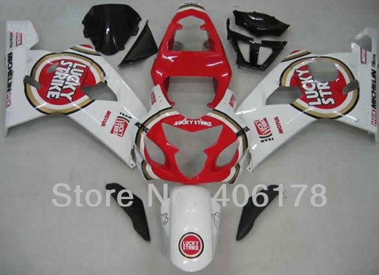 Hot Sales,GSXR 600 750 04 05 fairing For Suzuki 2004 2005 GSX-R 600 750 Lucky Strike Bodywork Fairing Kit (Injection molding)