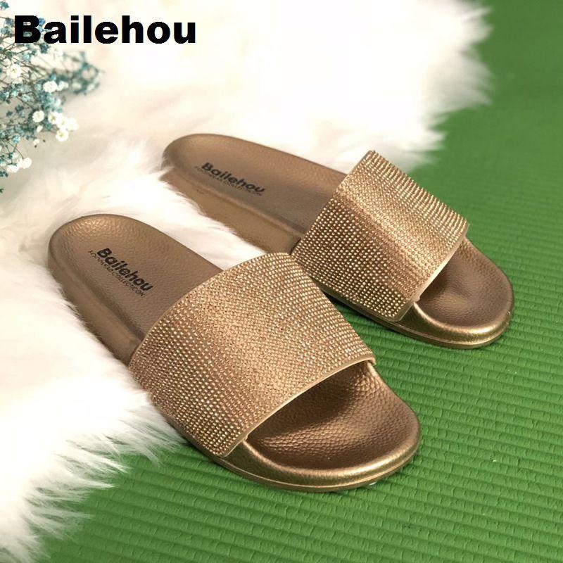 Bailehou New Arrivals Women Slippers Beach Slip On Slides Crystal Diamond Slippers Soft Home Flip Flops <font><b>Bling</b></font> Women Shoes Female