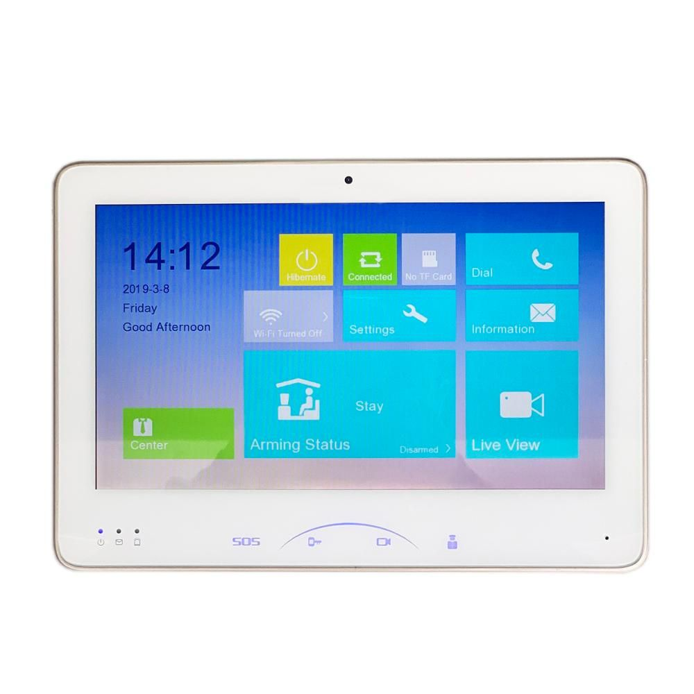 HIK multi-langue DS-KH8501-WT 10 pouces tactile moniteur intérieur, sonnette IP, interphone vidéo, sonnette filaire, caméra WiFi intégrée