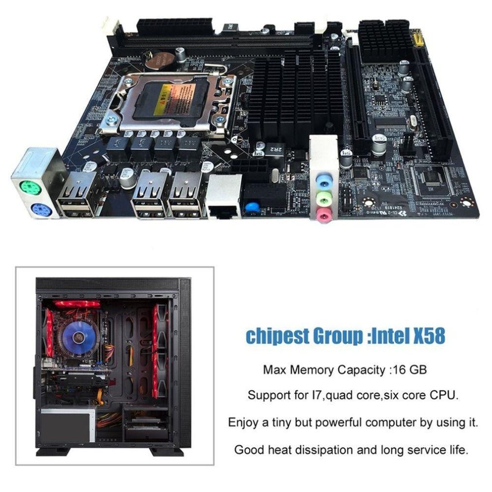 Desktop Motherboard Computer Mainboard For X58 LGA 1366 DDR3 16GB Support ECC RAM For Quad-Core Six-Core Needle 8PIN