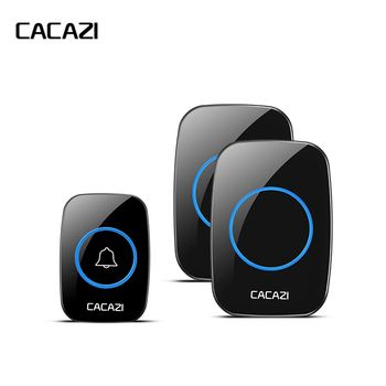 CACAZI New Waterproof Wireless Doorbell 300M Remote CALL EU/UK/US/AU Plug smart Door Bell Chime 220V 1V2 buttons 1V2 receivers