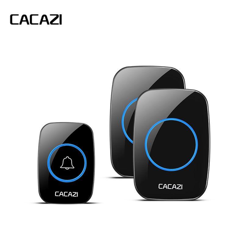CACAZI nouvelle sonnette étanche sans fil 300 M appel à distance EU/UK/US/AU Plug smart sonnette carillon de porte 220 V 1V2 boutons 1V2 récepteurs