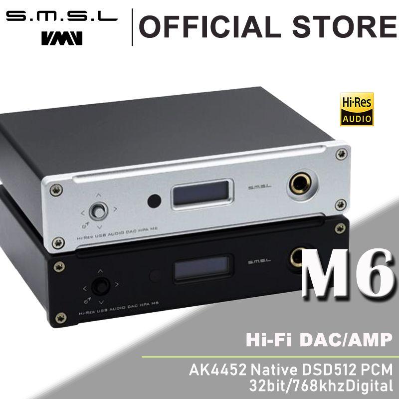New SMSL M6 HI-FI DAC AK4452 Decoder Native DSD512 Amp Asynchronous Multifunction with 32bit/768kHz USB Optical Coaxial Input