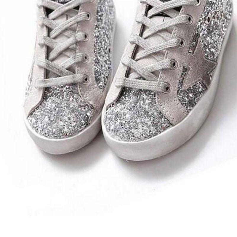 BBK 2017 Goose Superstar Zapatos Casuales zapatillas de deporte estrella Breathe Zapatos Plata Intermitente Zapatillas de cuero genuino zapatos de los niños de fábrica