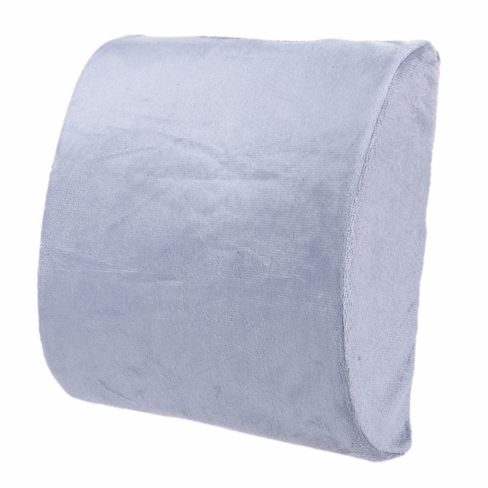 High Quality Memory Foam Car Lumbar Cushion Pillow Back Support Travel Waist Pillow Car Seat Home Office Chair or Sofa Grey