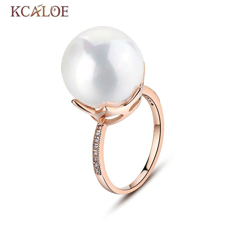 KCALOE bague perle naturelle mode mariage coquille perle argent plaqué et or Rose Anel grande boule ronde bagues de fiançailles pour les femmes
