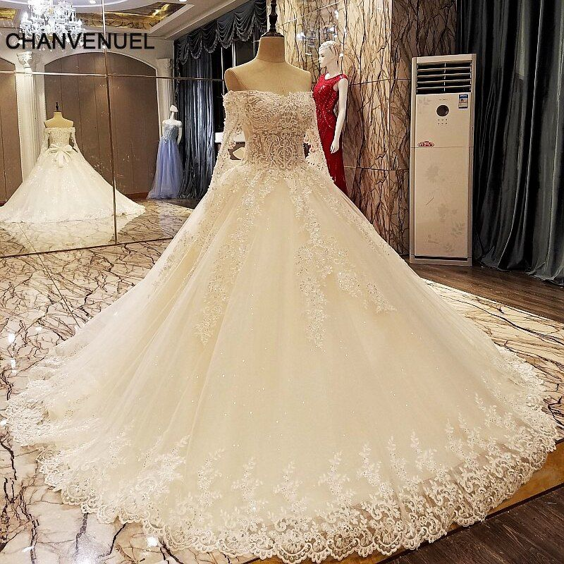 LS5606 champagne wedding dress ball gown lace up back long sleeves floor length appliques lace vestido de casamento real photos