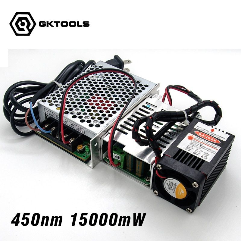 450 nm, 15000 mW 12V High Power Laser Module have TTL,Adjustable Focus Blue Laser module. DIY Laser engraver accessories.