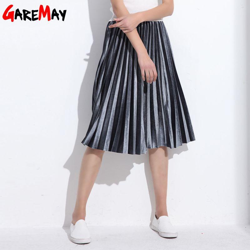 Women Skirt Pleated Faldas Largas Jupe Femme Long Warm High Waist Skirts For Women Elegant Female <font><b>Green</b></font> Velvet Skirts Retro