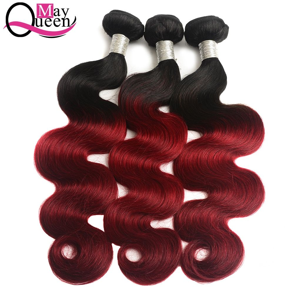 May Queen Hair 99J Red Remy Ombre Brazilian Hair Body Wave 1B/Burgundy Hair Bundles Weave Human Hair Extension