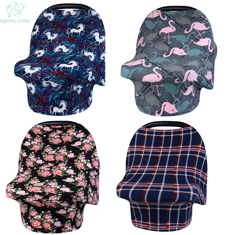 EGMAOBABY HOT Baby Car Seat Cover Nursing Cover Car Seat Canopy Covers Multi-Use Infant Shopping Cart High Chair Stroller Shawl