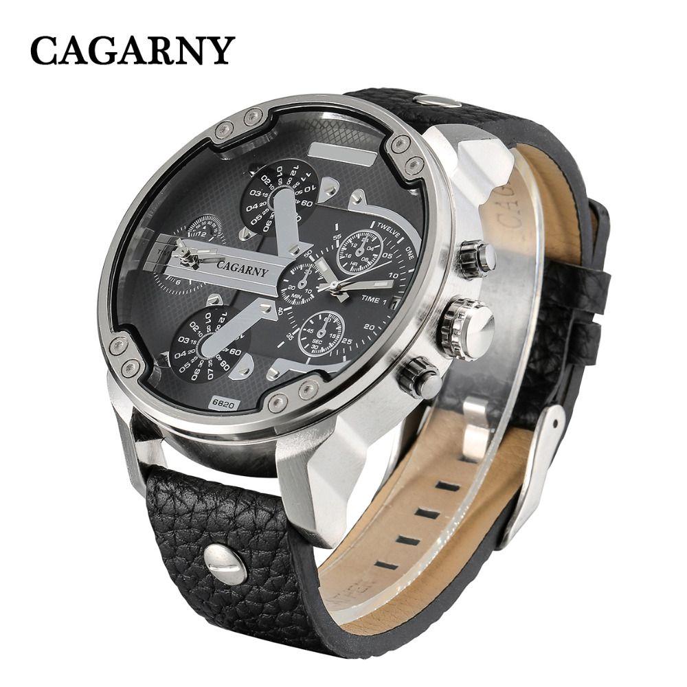 Grande montre hommes militaire hommes montres double fuseaux horaires Date Quartz horloge homme cuir analogique Sport Relogio Masculino Cagarny D6820