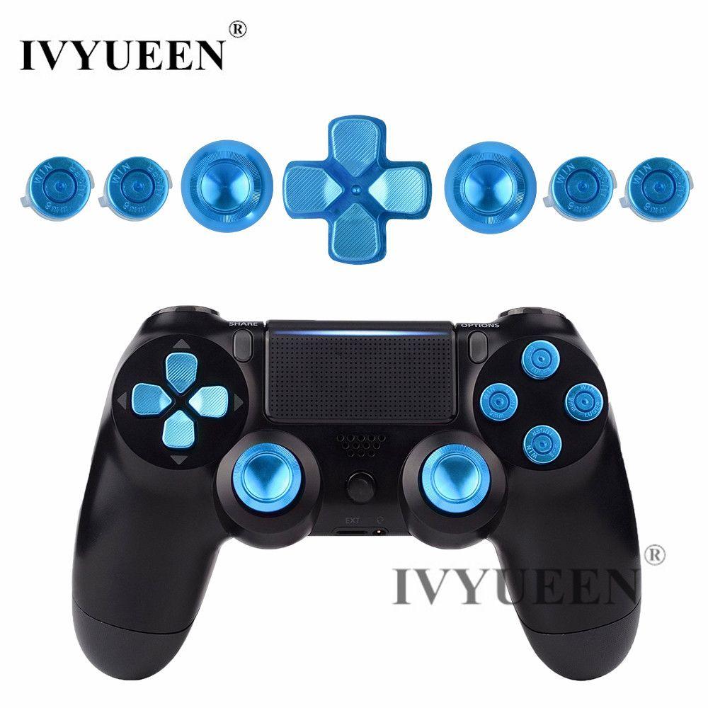 IVYUEEN pour PlayStation 4 PS4 Pro mince contrôleur bleu Aluminium analogique bâtons de pouce + métal Dpad 9mm balle boutons Mod Kit