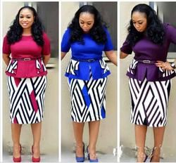 2018 Afrika Pakaian Palsu Dua Pcs Panjang Gaun Dengan Sabuk Embun bahu Untuk Lady