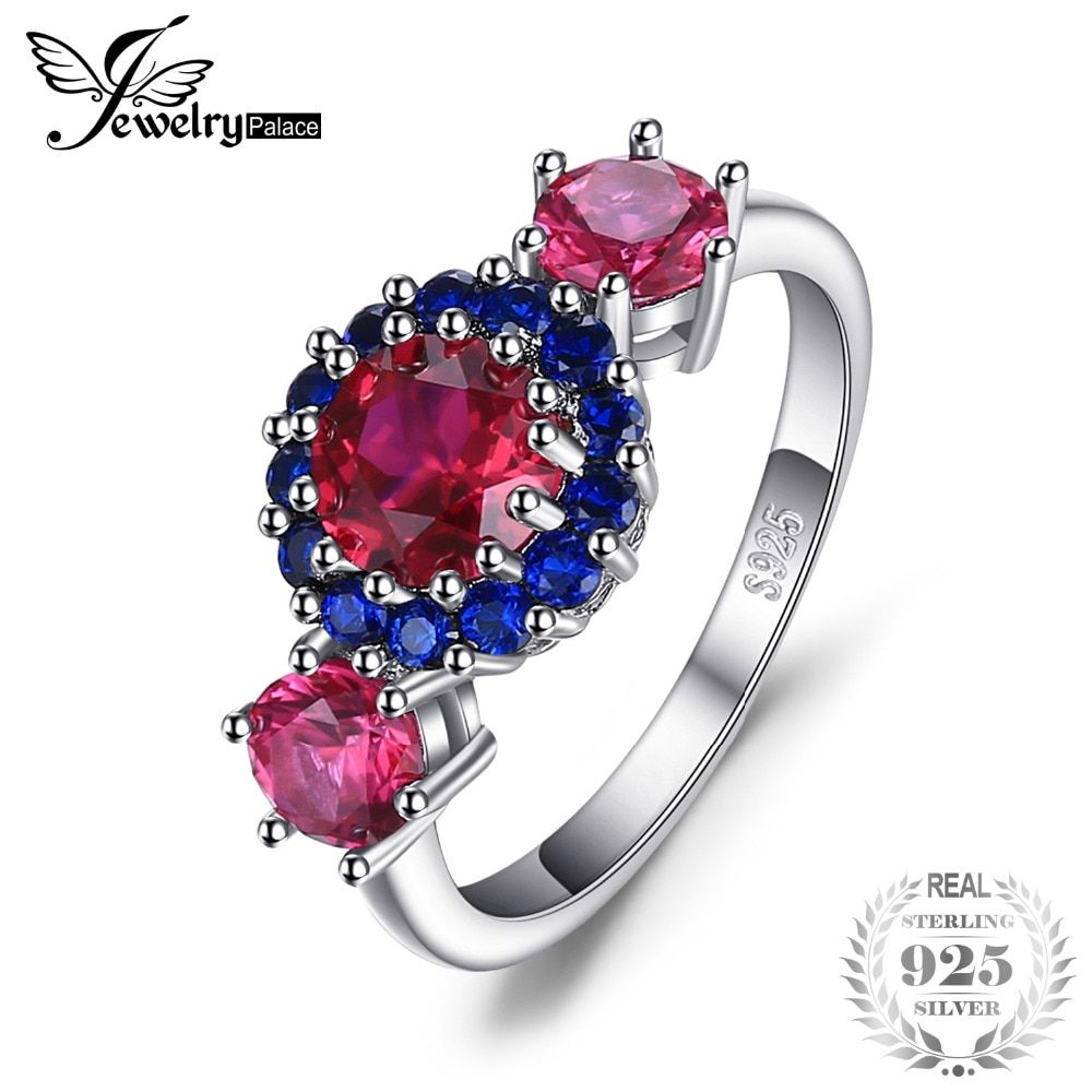 JewelryPalace 2.5ct Created Red Ruby Blue Spinel 3 Stone Ring 925 Sterling Silver Fashion Women New Arrival Anniversary