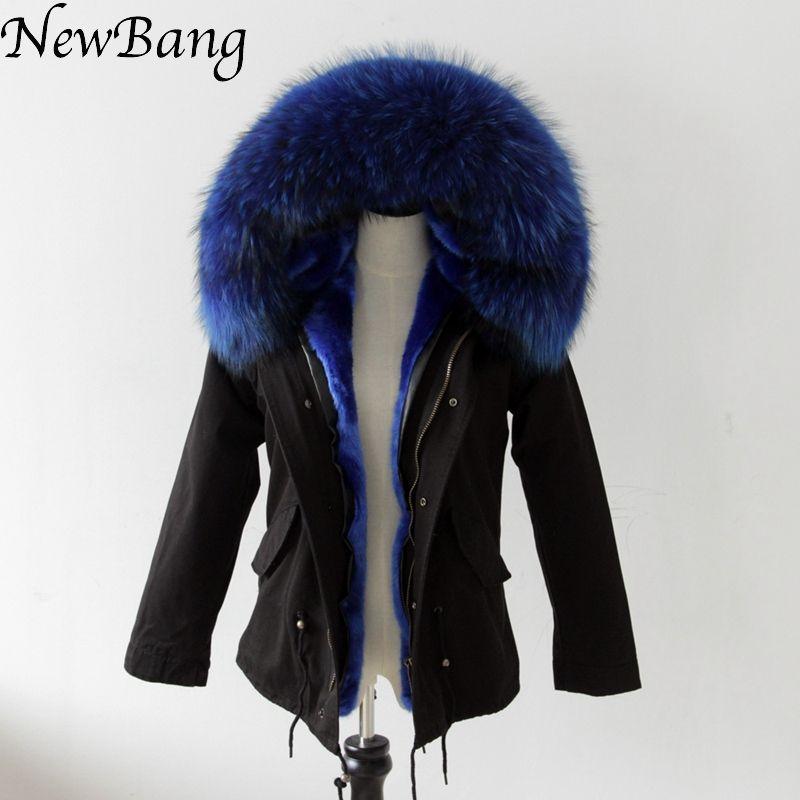 2016 Black Coat With Large Raccoon Fur Collar Hood Womens Parkas Outwear 2 in 1 Detachable Lining Winter Jacket