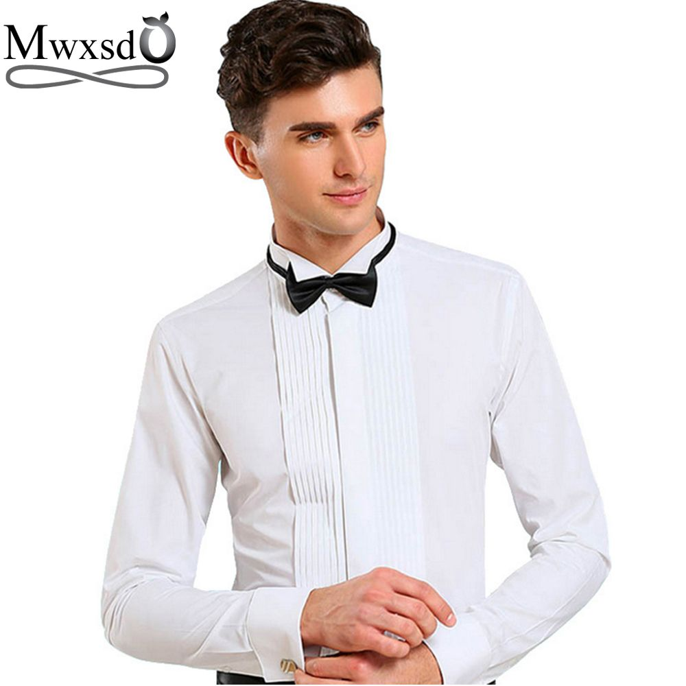Mwxsd 2017 brand men tuxedo wedding shirt slim fit long-sleeved solid French shirt folds swallow collar shirt chemise homme