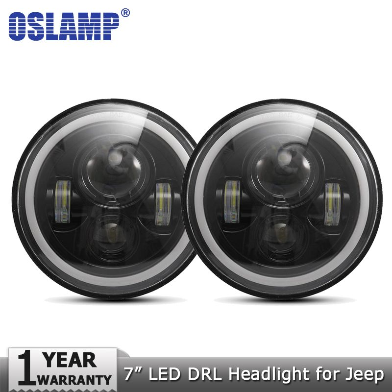 Oslamp 2pcs 7inch LED Headlight Bulbs Amber White Halo Angle Eyes DRL Led Headlamp 12v for Jeep Wrangler JK TJ LJ for Land Rover