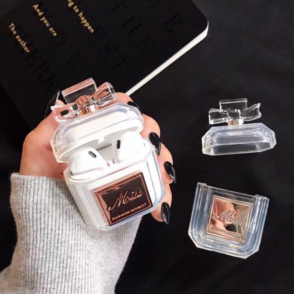 Coque en silicone flacon de parfum deux couleurs pour Airpods étui de protection pour écouteurs de luxe antichoc et étui souple en TPU transparent