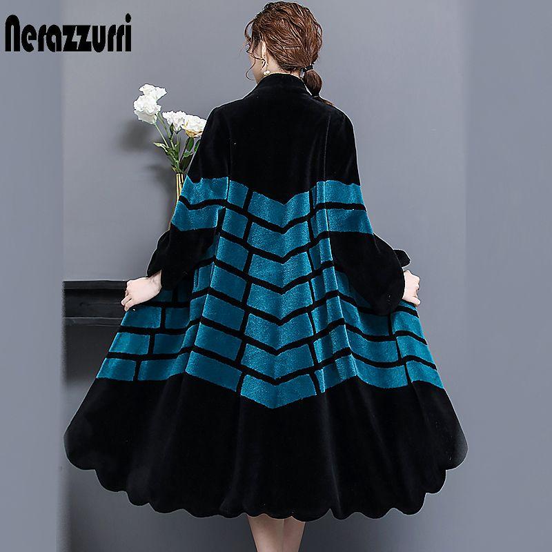 Nerazzurri Echt lamm pelzmantel frauen winter lange weibliche echte natürliche pelz outwear kontrast farbe warm plus größe schaffell mäntel