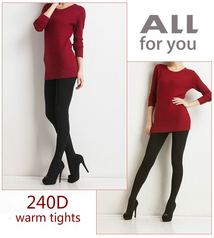 NEW Black Fashion Sexy Ladies' Thick & Foot Pantyhose Tights Warm Winter Slim Stretch Pants Tight 240D For Girls and Ladies