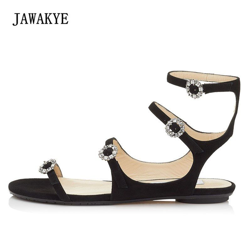2018 Runway Rhinestone Gladiator Sandals Women Peep Toe Pink Green Black Suede Ankle Strappy Flat Shoes Femme Party Shoes