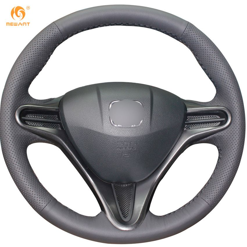 MEWANT Black Artificial Leather Car Steering Wheel Cover for Honda Civic Civic 8 2006-2009 (3-Spoke)