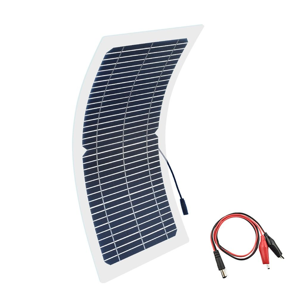 BOGUANG 18V 10w solar panel kit Transparent semi-flexible Monocrystalline solar cell DIY module outdoor connector DC 12v charger