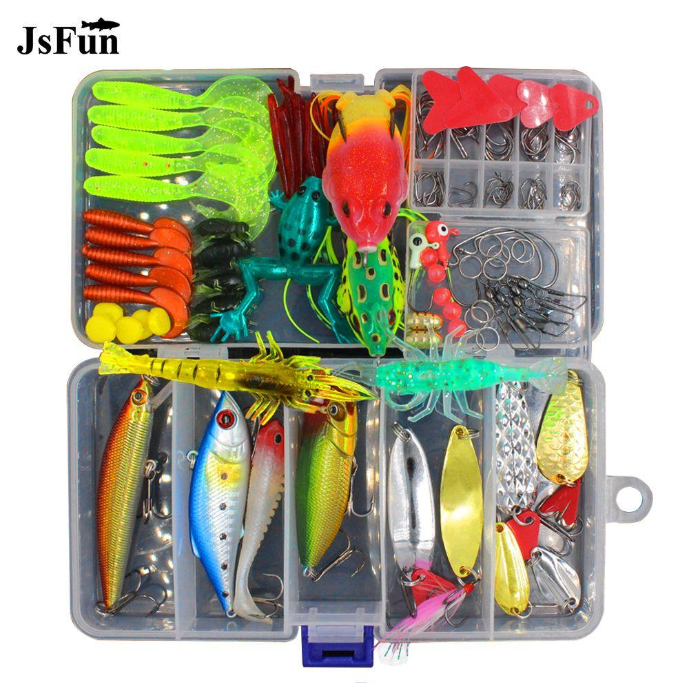 JSFUN 147pcs/lot Lure kit Rattlin Minnow Popper Frog bait Spoon Silicone baits Fishing Tackle Accessories fishing lure Set FU348