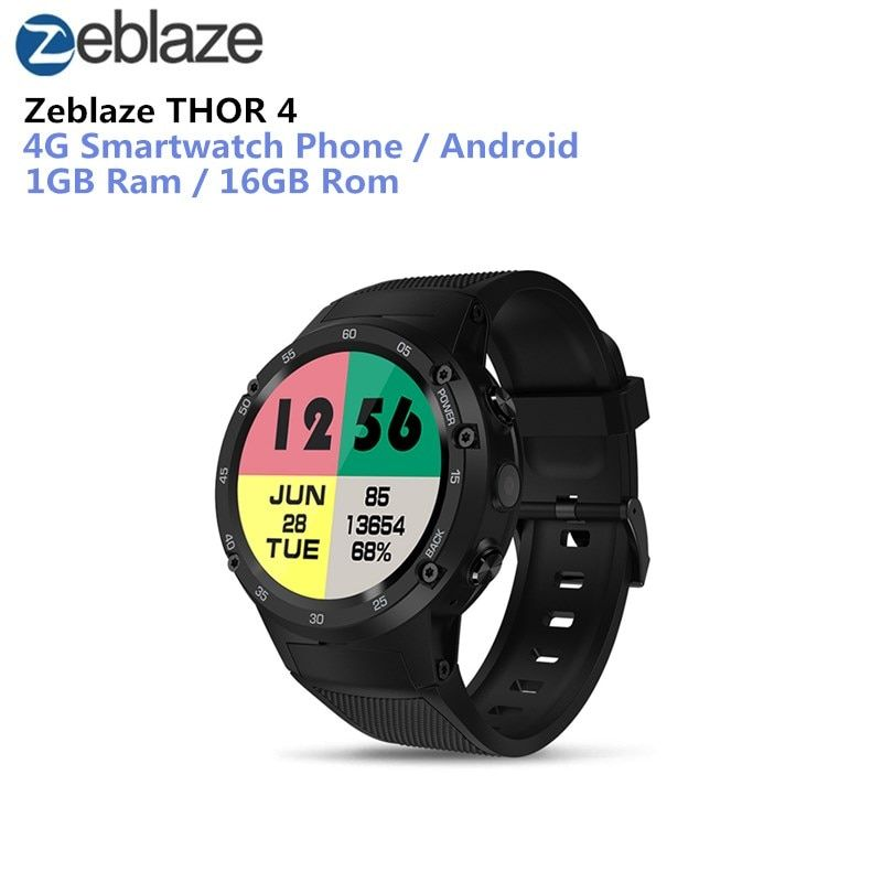 Zeblaze THOR 4 4G Smartwatch Phone Android 7.0 MTK6737 Quad Core 1GB+16GB 5MP Camera 580mAh 4G/3G/2G Data Call Smart Watch Men