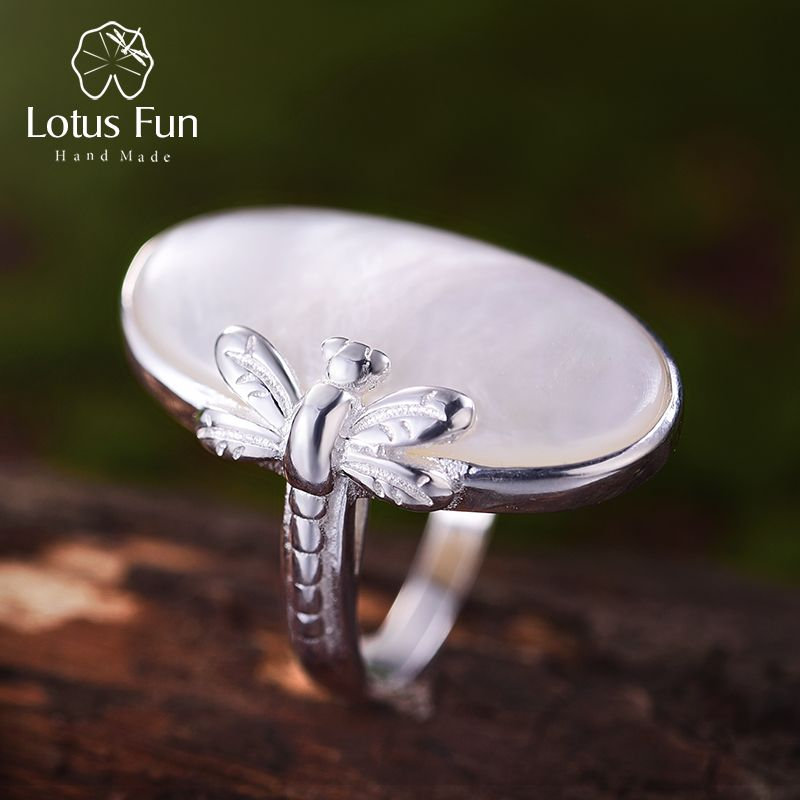 Lotus Fun Real 925 Sterling Silver Natural Shell Creative Handmade Designer Fine Jewelry Vintage Long Rings for Women Bijoux