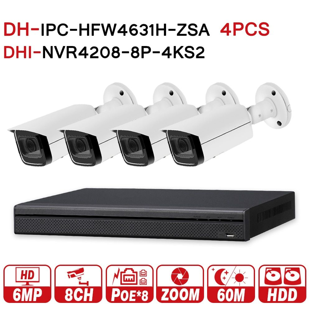 DH Security CCTV System 6MP Zoom IP Camera IPC-HFW4631H-ZSA & 8POE 4K NVR NVR4208-8P-4KS2 Surveillance P2P Security System