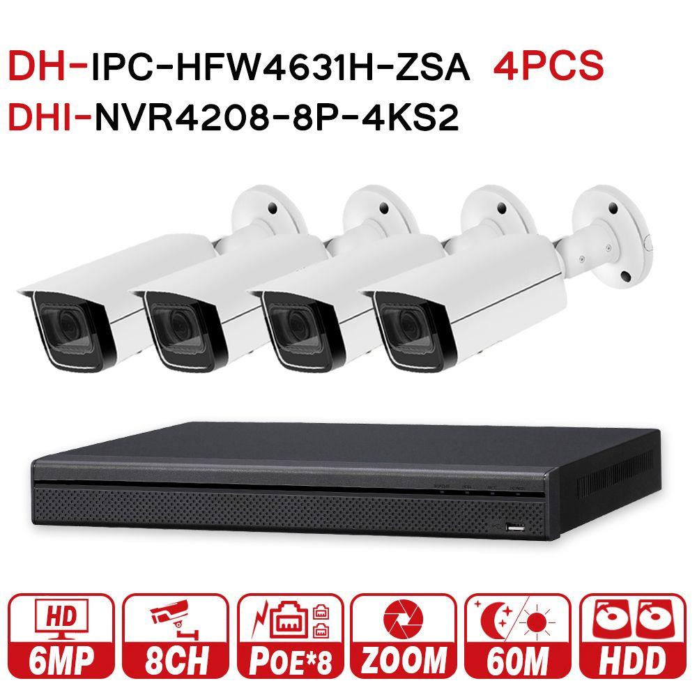 DH Security CCTV System 6MP Zoom IP Camera IPC-HFW4631H-ZSA & 8POE 4K NVR NVR4208-8P-4KS2 Surveillance P2P Security System