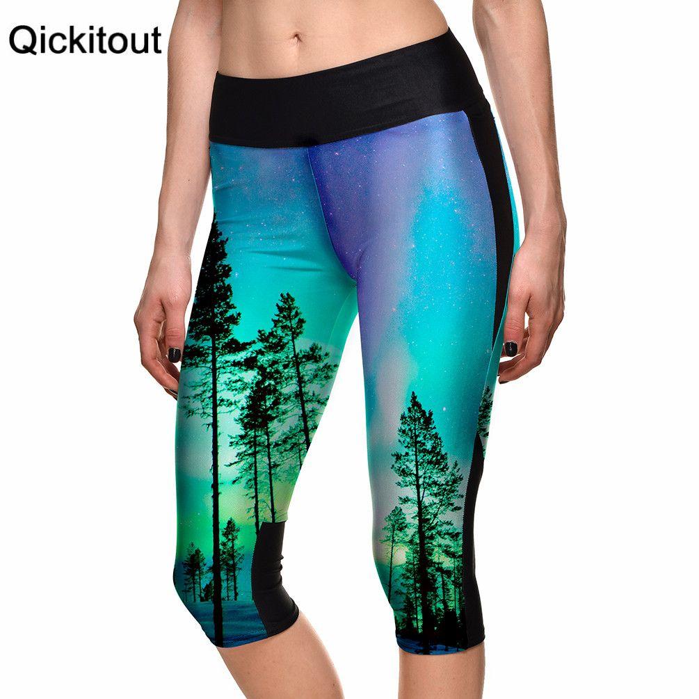 Fashion Hot women's 7 point pants Sexy ladies Beautiful forest trees digital print women high waist Side pocket phone pants