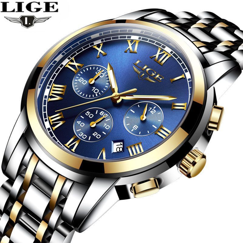 relogio <font><b>masculino</b></font> LIGE Men's Watches Top Brand Luxury Fashion Business Quartz Watch Men Sport Full Steel Waterproof Wristwatch